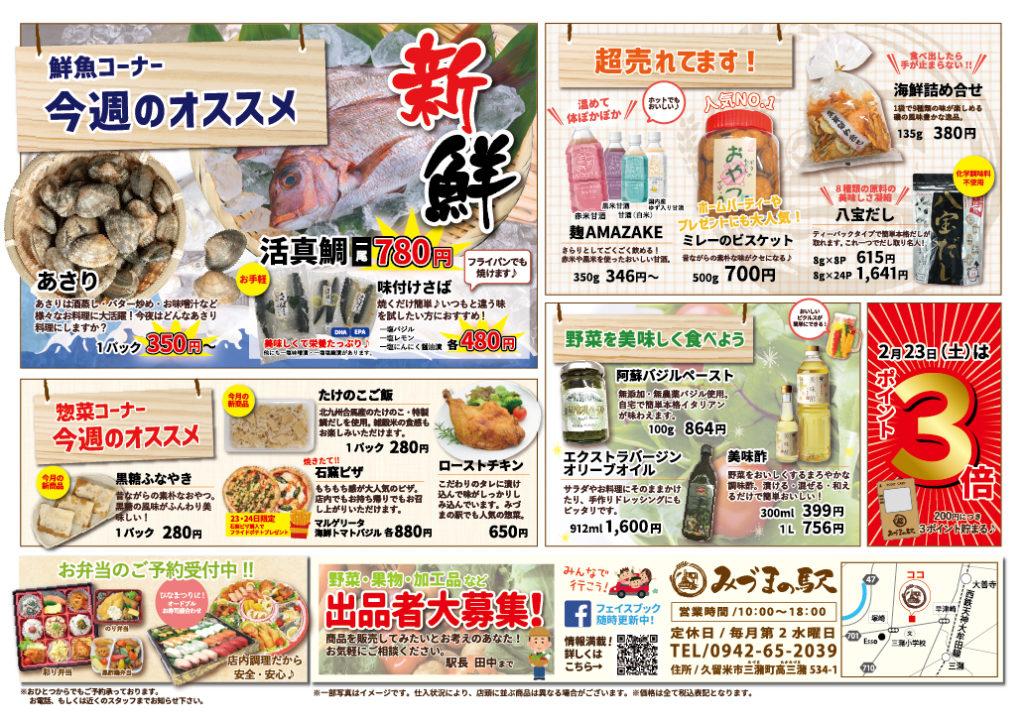 みづまの駅 チラシ2月
